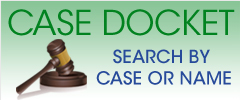 green rectangle with a gavel on it with the words Case Docket on it