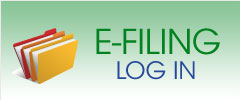 green rectangle with image of folders to the left of the words E Filing Log In