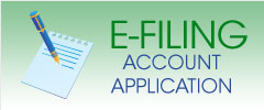 green rectangle with image of a pen and paper to the left of the words E Filing Account Application
