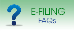 green rectangle with image of a question mark to the left of the words E Filing FAQs