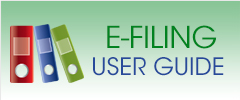 green rectangle with image of three books to the left of the words E Filing User Guide